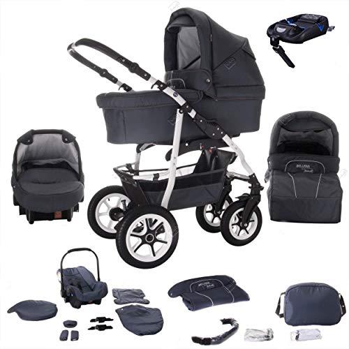 Bebebi Bellami   ISOFIX Basis & Autositz   4 in 1 Kombi Kinderwagen   Luftreifen   Farbe: Bellagrey