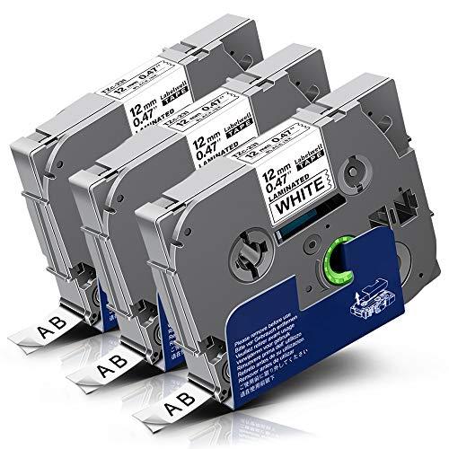 3x Labelwell Tzc-231 Tz Tape 0.47 12mm White Ersatz für Brother Tze-231 Tze231 Tz-231 Tz-231 Schwarz auf Weiß Laminierte Schriftband für Brother P-Touch H105 Cube 1000 1010 H100LB P700 D450VP 1280