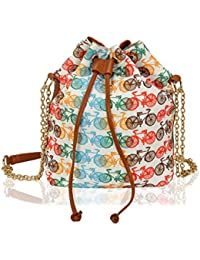 Kleio Stylish Bucket Sling Bag With Draw String For Girls / Women (White) (ECO2010KL-CYC)