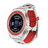QHJ Smart Watch, Telefon Schrittzähler Sitzende Erinnern Sie Schlafmonitor HD-Kamera (Weiß + Rot)