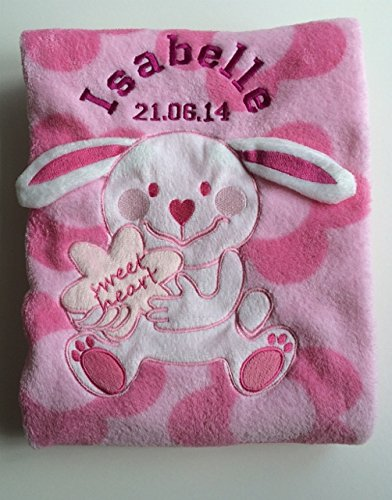 personnalisé Rose Sweet Heart Bunny Couverture pour bébé - personnalisé Wrap de luxe.