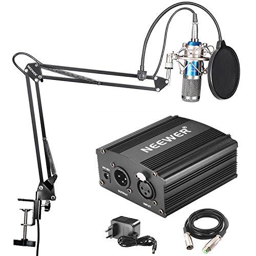 Neewer NW-800 Microphone à Condenseur Professionnel (bleu) et NW-35 Suspension Boom Support Bras à Ciseaux avec XLR Câble et Clamp de Montage et NW-3 Filtre Pop et 48V Alimentation Fantôme avec le Kit d'Adaptateur