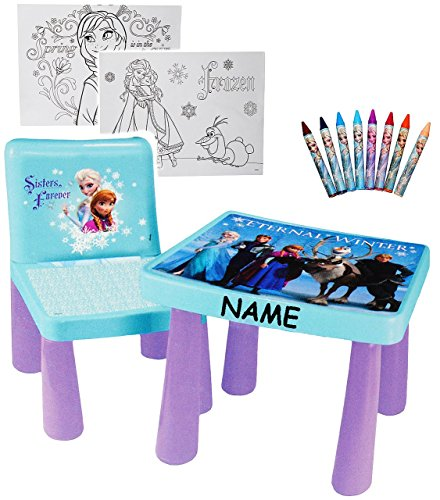 set tisch stuhl incl malvorlagen stifte disney die eisk nigin frozen incl. Black Bedroom Furniture Sets. Home Design Ideas