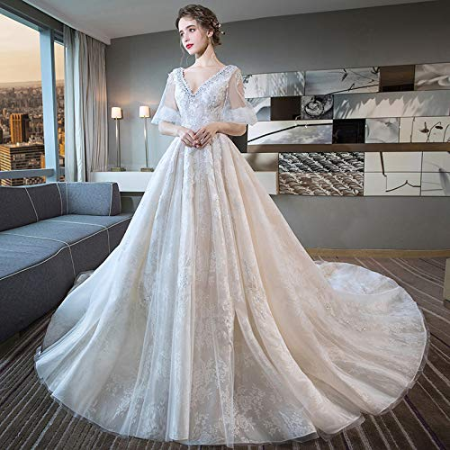 WJZ Master Hochzeit Retro Wort Schulter Braut Hochzeitskleid Prinzessin Traum Spitze Schwanz,Weiß,S
