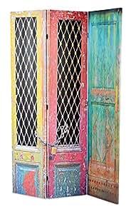 My Note Deco 065880 Paravent Motif Portes Peintes Bois/Polyester Multicolore 120 x 180 cm