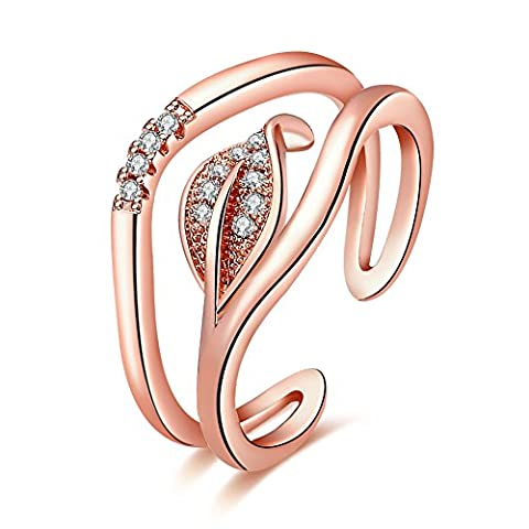 YEAHJOY Women's Adjustable Size Open Rings Leaf Shape Crystal Paving Rings (18ct Rose Gold)