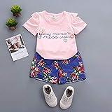 ETbotu Insieme del pannello esterno della maglietta della maglietta del manicotto di stampa del fiore adorabile di estate delle neonate Rosa 100