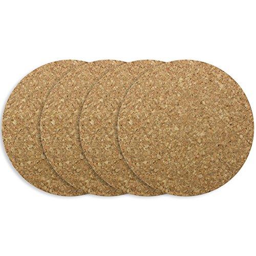 COM-FOUR 4x piatto rotondo in sughero, Ø 19,5 x 1 cm, resistente al calore, ottima qualità (04 pezzi - Ø 19,5 x 1 cm)