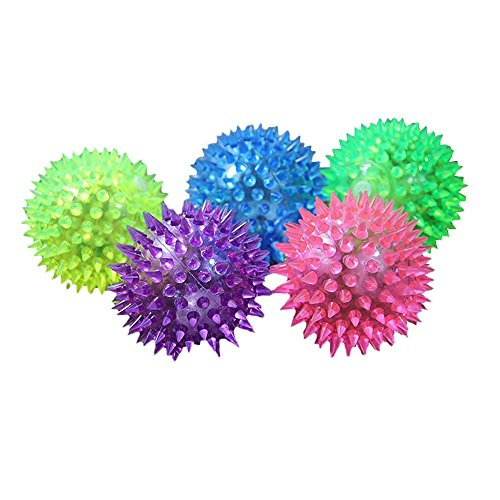 Doublehero 1 STÜCK Hündchen Katze Pet Hedgehog Gummi Ball Glocke Sound Ball Spaß Spielen LED Ball Spielzeug (Zufällige Farbe) (Durchmesser-gummi-ball)