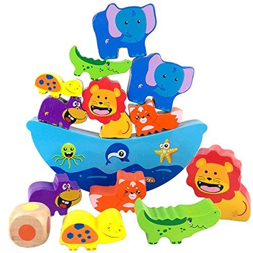 Lewo Holz Balancierspiel mit Würfel Stapel Bausteine schult die Konzentration und Feinmotorik für Kinder ab 3 Jahren - Stapeln Kinder Spielzeug