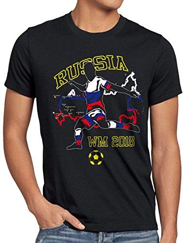 style3 WM 2018 Russland Herren T-Shirt Fußball Weltmeisterschaft Trikot Russia, Größe:S, Farbe:Schwarz