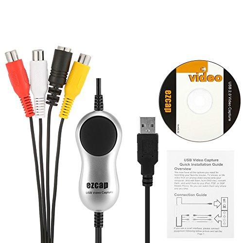 Fesjoy USB 2.0 Video Capture HD Video Converter Recorder konvertieren Analog Video Audio-Digital-Format für Windows 7 8 10