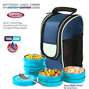 BMS Lifestyle Executive 2in1 Steel & Polypropylene Lunch Box Set, 8 Pieces , Blue