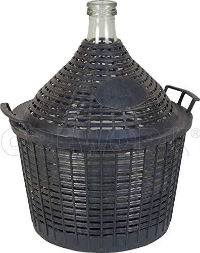 Garrafon de cristal forrado de pvc igual que los antiguos garrafones de vino , degran utilidad para todo tipo de liquidos o como adorno. capacidad 15 litros