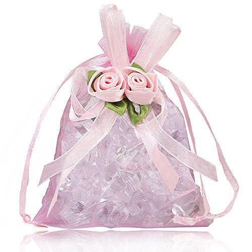 g Organza Geschenk Beutel, Schmuckbeutel Verpackung Lagerung Säcke, Süßigkeit Beutel für Hochzeit Dusche, Geburtstag, Weihnachten Schmuck DIY Craft - 11 * 16cm, Rosa ()
