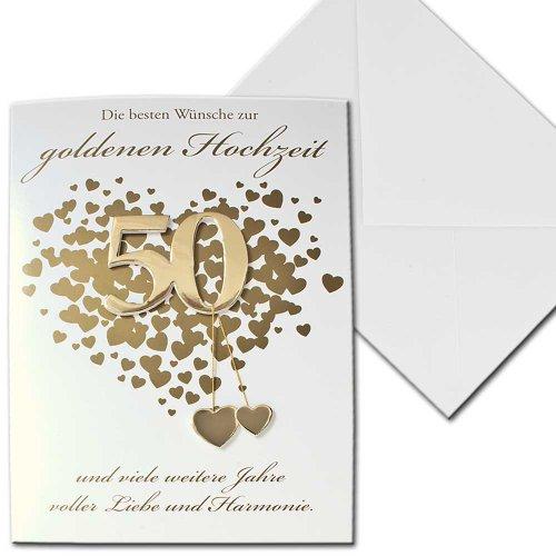 Karte Hochzeitskarte goldene Hochzeit 50 Jahre Herzen Vier Jahreszeiten Briefkuvert