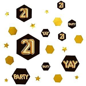 Neviti 773369Glitz y Glamour edad 21confeti mesa Scatters, Negro/Oro