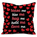 Pattern:indibni Black Love Me Tease Me Kiss Me PrintUtility: Gift for Boyfriend, Gift for Girlfriend, Special Gift for Wife, Gift for Husband, Unique Gift for Couple, House Warming, Home Décor, Throw Pillow for Spouse, Ideal Gift for Loved One, Sofa ...