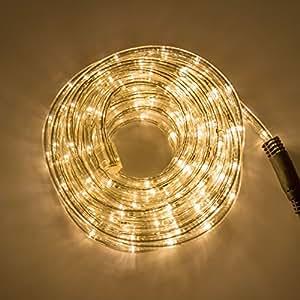 Tube lumineux d'extérieur 15 m, 10 mm, 230V, 360 LED blanc chaud horizontale, cordon lumineux avec contrôleur