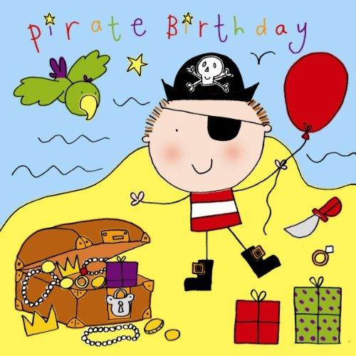 Crystal Finish (twizler Happy Birthday Karte für Jungen mit Piraten, Papagei und Swarovski Crystal Finish–Kinder Geburtstag–Jungen Geburtstag Karte)