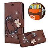Braun Brieftasche für iPod Touch 5,Strass Handyhülle für iPod Touch 6,Moiky Luxus Liebe Herze Muster 3D Schmetterling Dekor Magnetisch Kunstleder Stoßdämpfende Handytasche mit TPU