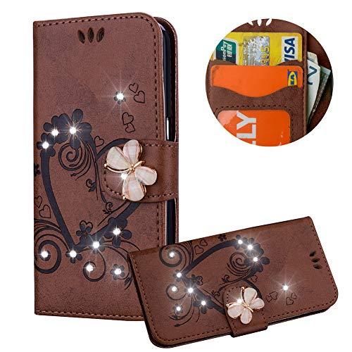 Braun Brieftasche für Samsung Galaxy A8 2018,Strass Handyhülle für Galaxy A8 2018,Moiky Luxus Liebe Herze Muster 3D Schmetterling Dekor Magnetisch Kunstleder Stoßdämpfende Handytasche mit TPU