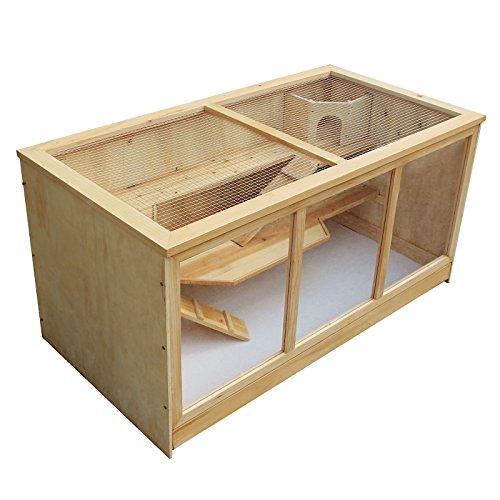 Gabbia xxl a tre livelli per criceti roditori in legno e plexiglas 115x60x58cm
