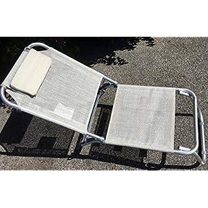 EUROLANDIA Spiaggina a 3 Posizioni in Alluminio e Textilene 685974 Con Cuscino, 3 Cinghie Elastiche