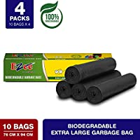 Ezee Bio-degradable Extra Large Garbage Bags/Trash Bags/Dustbin Bags (30 X 37 Inches) Pack of 4 (40 Pieces) 10 Pcs Each Pack
