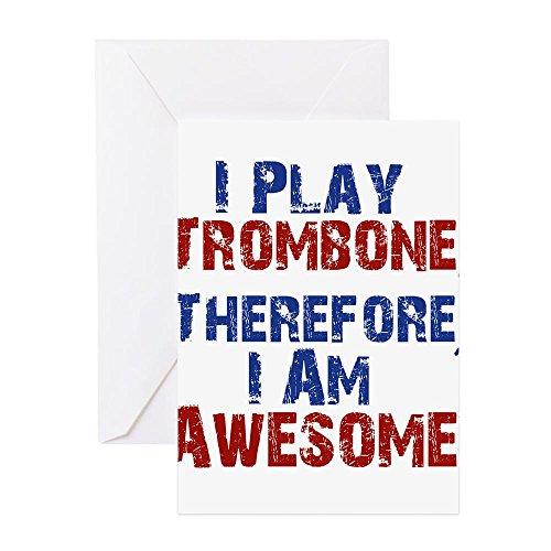"""CafePress Grußkarte, englischsprachige Aufschrift - """"I play trombone therefore I am awesome"""", Geldgeschenkkarte, Geburtstagskarte, Blanko-Innenseite, matt"""