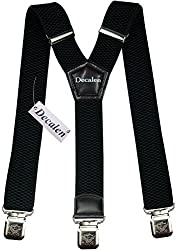 Mens Suspenders Wide Adjustable and Elastic Braces Y Shape with Very Strong Clips - Heavy Duty (Black)