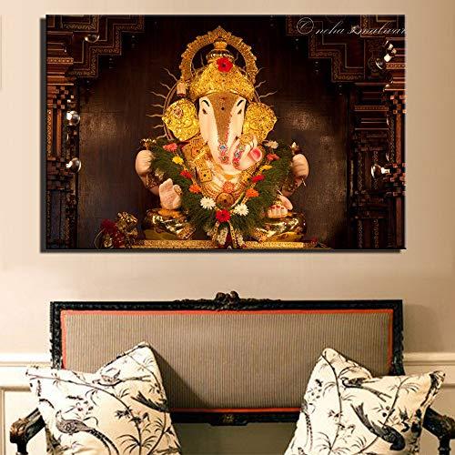 Gott des Reichtums Kunst Leinwand Hindu Götter Hause Dekorative Bilder Cuadros Ganesha Götter Leinwand Gemälde Für Wohnzimmer Eine 40x60 cm ungerahmt ()