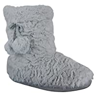 Ladies Womens Slippers Boots Girls Winter Warm Fur New Ankle Bootie Shoes Size Grey