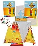 alles-meine.de GmbH 16 TLG. Set _ Einladungskarten - incl. Umschlag -  Indianer Zelt / Totem  - für Mädchen & Jungen - Einladung / Karte - Kindergeburtstag - Party - Fest Deko ..