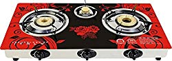 Surya Crystal 3 Burner Auto Gas Stove Cooktop Red Color, Design May Vary as Per Stock Availability