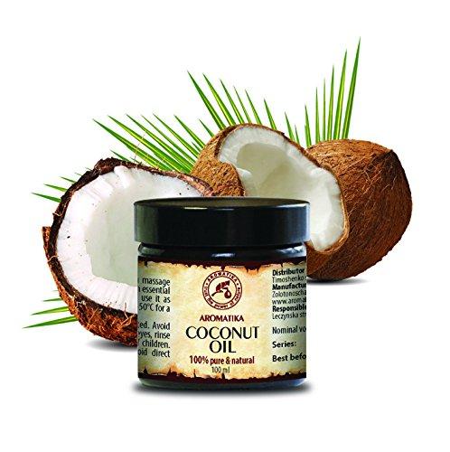 Kokosöl Kaltgepresst nativ,100 % reines Kokosnussöl 100ml Flasche - Cocos Nucifera, Indonesien, Unraffiniert, Intensive Pflege für Gesicht, Körper, Haare, Haut, Lippen, Körperpflege Öl von AROMATIKA