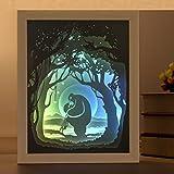Nachtlicht, Papierschnitzlampe, 3D Licht und Schatten Lampe, dekorative Bilderrahmen Malerei, Nachttisch Dekoration, automatische Farbwechsel, Gold