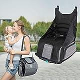 Boostersitz, faltbar mobiler Kindersitz als Sitzerhöhung und Reisesitz, Wickeltasche in Baby Reisesitz verwandeln (grau)