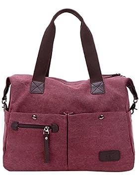 PB-SOAR Unisex Vintage Canvas Shopper Schultertasche Umhängetasche Handtasche Reisetasche