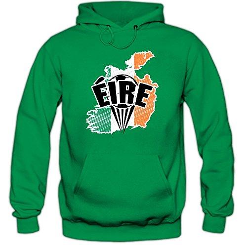 Shirt Happenz Irland WM 2018#1 Hoodie | Fußball | Herren | Éire | Trikot | Nationalmannschaft, Farbe:Hellgrün (Kellygreen F421);Größe:L -