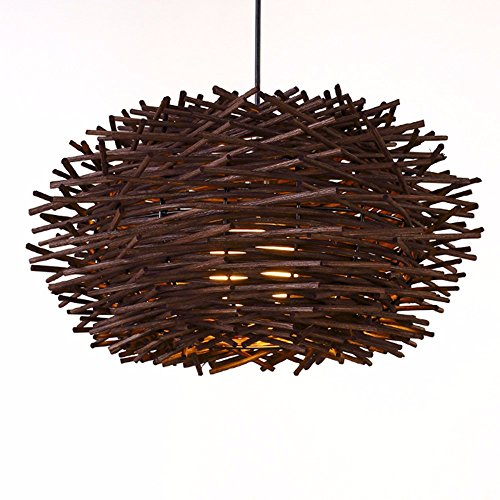 LighSCH Pendelleuchten Kronleuchter Takuma Sato Geflecht Kreative minimalistischen Single Head Arts Bar Restaurant Balkon Bird's Nest Lampe Lampen Espresso Braun 30cm