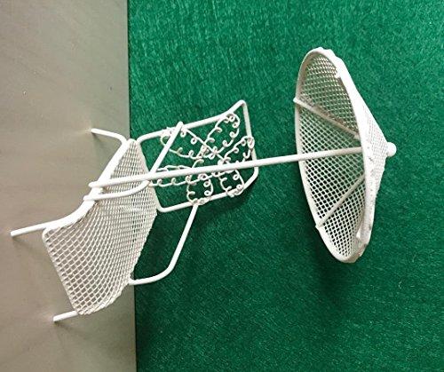 Dekop Miniatur Modell, Relaxliege mit Schirm, weiß Höhe 15cm (444444635096439)