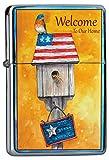 LEotiE SINCE 2004 Chrom Sturm Feuerzeug Benzinfeuerzeug aus Metall Aufladbar Winddicht für Küche Grill Zigaretten Kerzen Bedruckt Vogel Vogelhäuschen Willkommensspruch USA Flagge