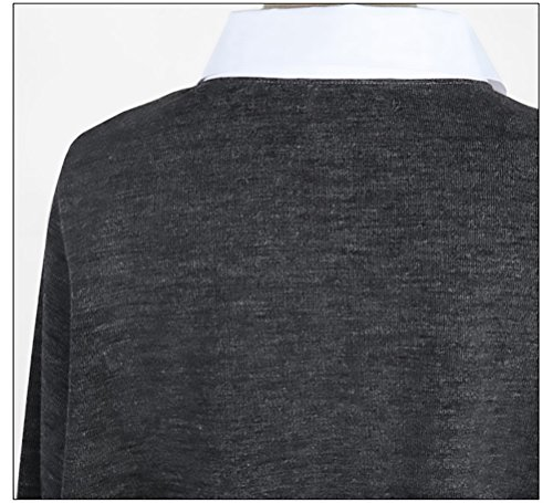 Maglie Donna Autunno Invernali Camicia Maglione Maniche Lunghe Fake Due Pezzi Taglie Forti Maglieria Blusa Elegante Sciolto Top Maglia Casuale V Scollo Classico Grigio