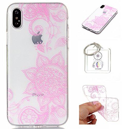 Hülle iPhone X Hülle,TPU Case Schutzhülle Silikon Case,Niedliche Cartoon Malerei Durchsichtige TPU Bumper Handy Tasche Case Cover Etui für Apple iPhone X + Schlüsselanhänger (A) (2)