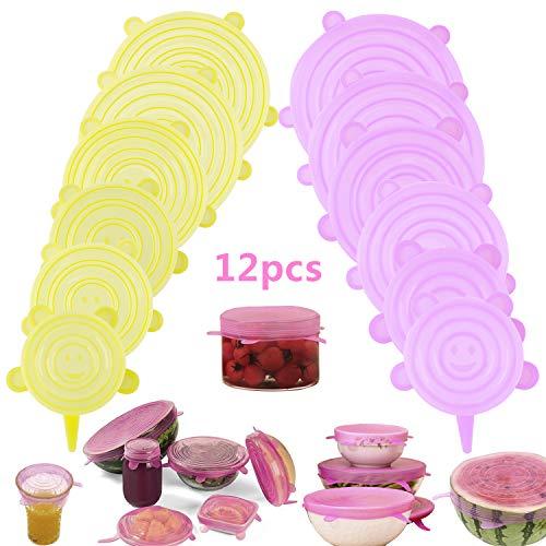 Arfbear Couvercles en Silicone, 12pcs Couvercle Extensibles en Silicone sans BPA, 6 Tailles Differentes pour Micro-Ondes, Le Four, Le Frigo, Le Lave-Vaisselle (Jaune & Rose)