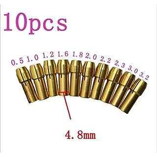 10 Stück Messing Spannzange 4,8 mm schaft für Dremel Präzisionswerkzeuge für 0,5mm 0,8mm 1,0mm 1,2mm 1,5mm 1,8mm 2,0mm 2,4mm 3,0mm 3,2mm