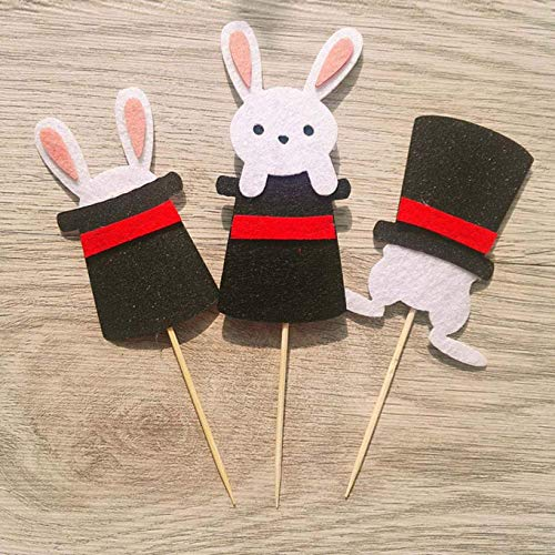 rfrrsss Original Kaninchen Party Kuchen Verziert Schaustück Selektieren Flaggen Neu für Wohndeko - Black Magic Hut Hase 3 Eintritt