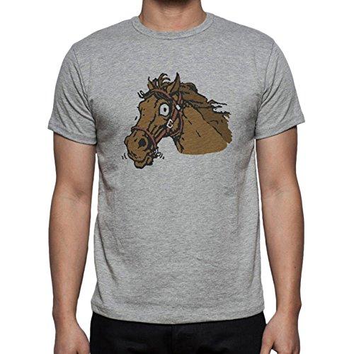 Horse Animal Pony Stud Crazy Head Herren T-Shirt Grau