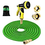 HENGQIANG Expandable Garden Hose, Brass Fittings Strongest Hose Pipe with 9 Spray Pattern